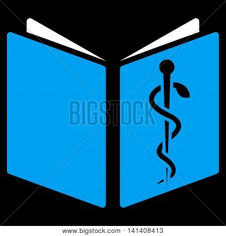 Drug Handbook vector icon. Style is bicolor flat symbol, blue and white colors, rounded angles, black background.