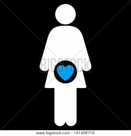 Fertility vector icon. Style is bicolor flat symbol, blue and white colors, rounded angles, black background.