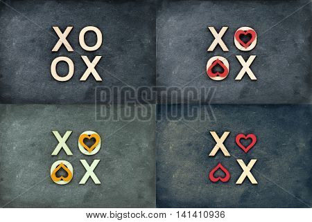 Photo collage of Vintage chalkboards with text XOXO (kisses & hugs) created of wood letters letters O covered with red heart shape symbols love concept