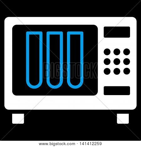 Sterilizer vector icon. Style is bicolor flat symbol, blue and white colors, rounded angles, black background.