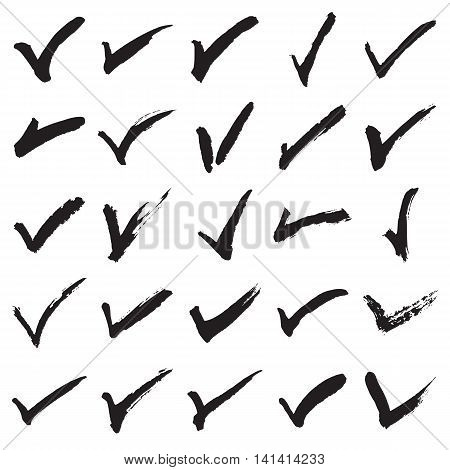 Collection of 25 hand painted check marks (ticks). Vector illustration