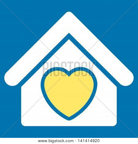 Hospice vector icon. Style is bicolor flat symbol, yellow and white colors, rounded angles, blue background.