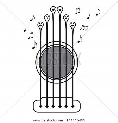 Guitar strings singing as a choir vector ilustration on white background