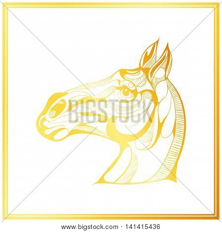 Gold Horse Card On Vector & Photo (Free Trial) | Bigstock