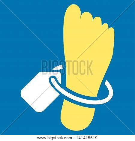 Mortuary Tag vector icon. Style is bicolor flat symbol, yellow and white colors, rounded angles, blue background.
