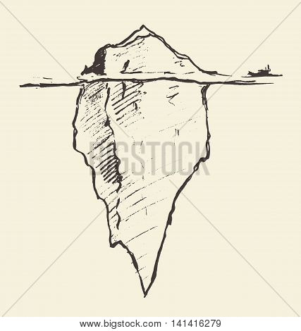 Sketch of an iceberg with icebreaker. Vector illustration