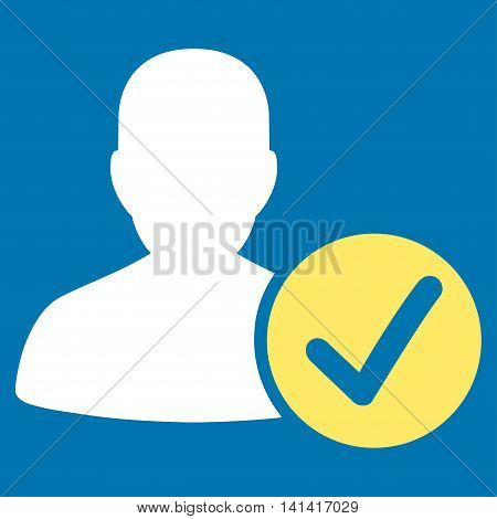Valid Patient vector icon. Style is bicolor flat symbol, yellow and white colors, rounded angles, blue background.
