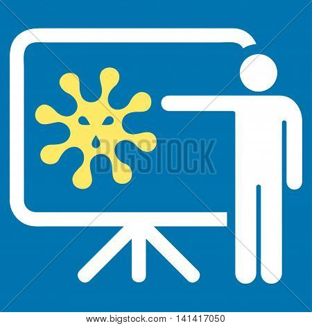 Virus Report vector icon. Style is bicolor flat symbol, yellow and white colors, rounded angles, blue background.