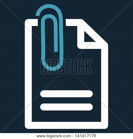 Attach Document vector icon. Style is bicolor flat symbol, blue and white colors, rounded angles, dark blue background.