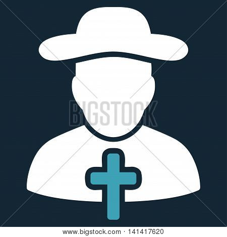 Cleric vector icon. Style is bicolor flat symbol, blue and white colors, rounded angles, dark blue background.