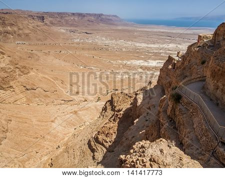 Masada - ancient fortification on top of an rock overlooking the Dead Sea in the Judaean Desert Israel