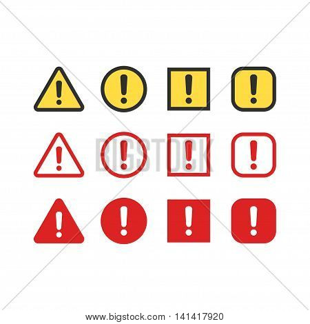 Warning attention signs set. Exclamation mark symbol bright danger colors. Triangle circle and rectangle vector icons.