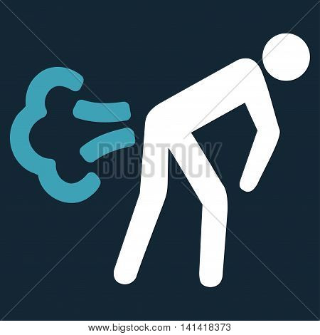 Fart vector icon. Style is bicolor flat symbol, blue and white colors, rounded angles, dark blue background.