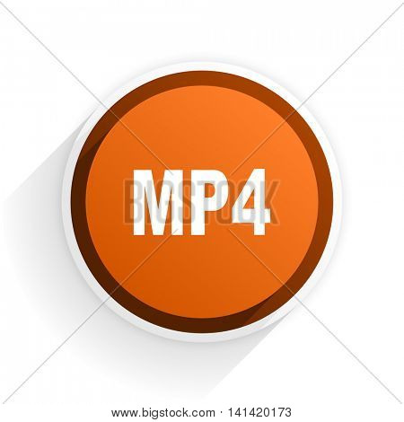 mp4 flat icon with shadow on white background, orange modern design web element