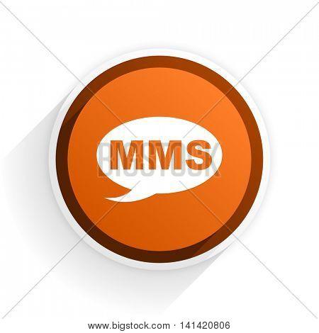 mms flat icon with shadow on white background, orange modern design web element