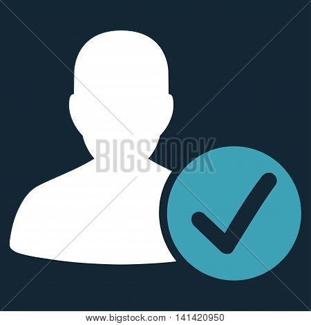Valid Patient vector icon. Style is bicolor flat symbol, blue and white colors, rounded angles, dark blue background.