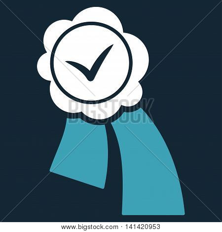 Validation Seal vector icon. Style is bicolor flat symbol, blue and white colors, rounded angles, dark blue background.