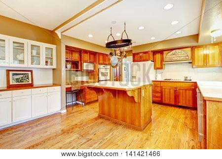 Country American Farm House Kitchen Interior.