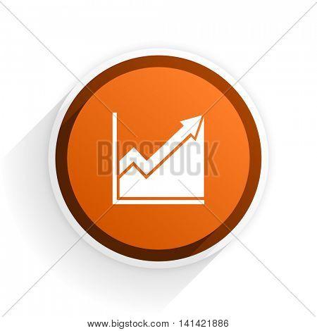 histogram flat icon with shadow on white background, orange modern design web element
