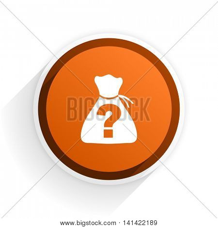 riddle flat icon with shadow on white background, orange modern design web element