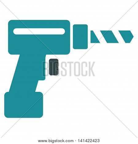 Drill vector icon. Style is bicolor flat symbol, soft blue colors, rounded angles, white background.