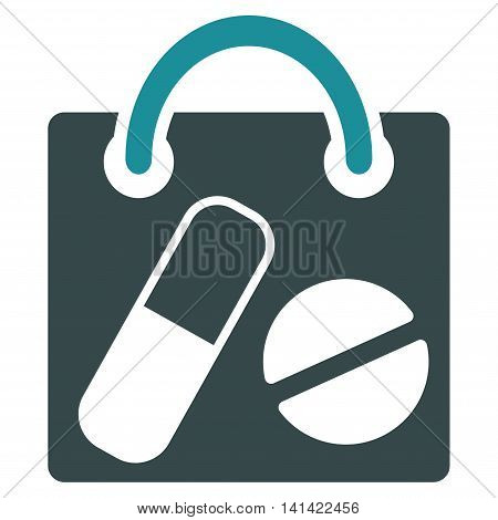 Drugs Shopping Bag vector icon. Style is bicolor flat symbol, soft blue colors, rounded angles, white background.