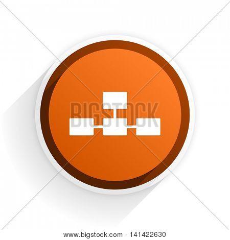database flat icon with shadow on white background, orange modern design web element