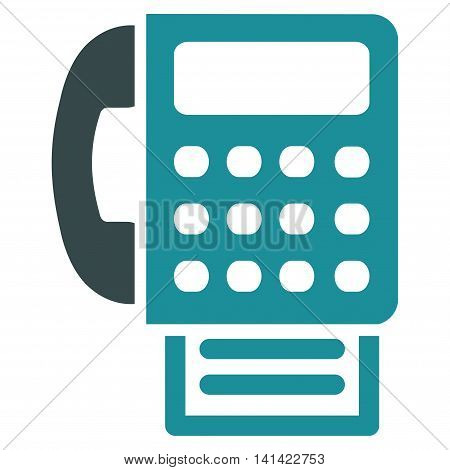 Fax vector icon. Style is bicolor flat symbol, soft blue colors, rounded angles, white background.