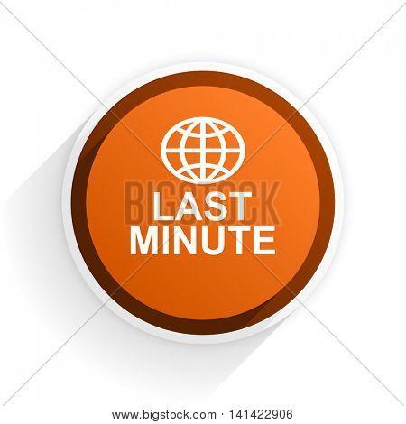 last minute flat icon with shadow on white background, orange modern design web element
