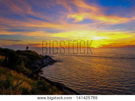 Sunset with wonderful twilight at Phromthep Cape, Rawai, Phuket, Thailand.
