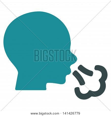Sneezing vector icon. Style is bicolor flat symbol, soft blue colors, rounded angles, white background.