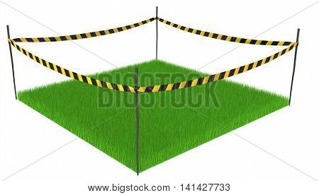 Green grass lawn square cordoned off 3d illustration horizontal isolated