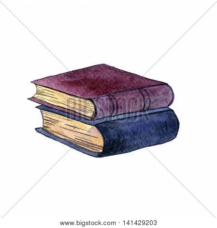 watercolor stack of old book isolated at white background, hand drawn illustration