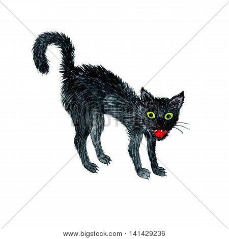 watercolor drawing black angry cat, cartoon animal, halloween symbol