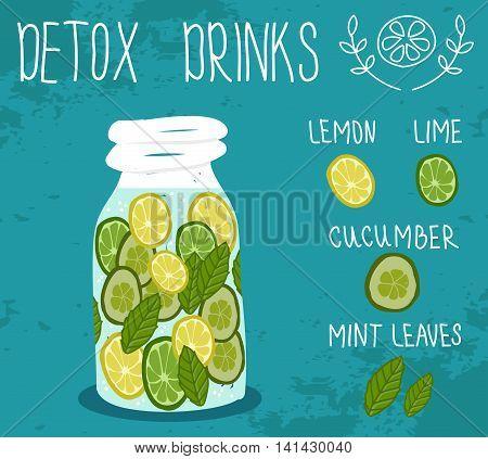 Detox drink. Health life. Vector illustration .