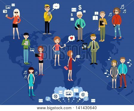 People use the Internet and gadgets.Social network. Concept. Vector illustration