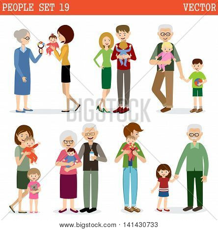 Vector set of people with children on a white background. Parents children grandmothers and grandfathers