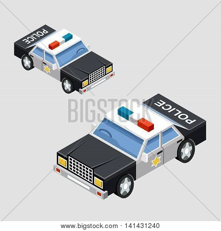 Isometric police car in two projections. Vector