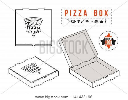 Stock vector design of boxes for pizza. Label and icons set