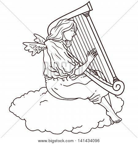 Illustration of an angel using a harp