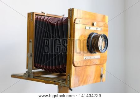 KIEV, UKRAINE - JULY 5, 2016. Vintage box camera with a wooden body in Heritage Museum