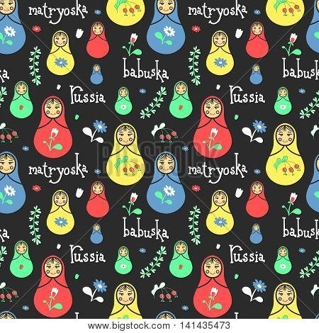 Russian traditional style toys, babushka, matryoshka, simple USSR elements. Vector illustration. National culture concept. Seamless colorful retro doll design background.
