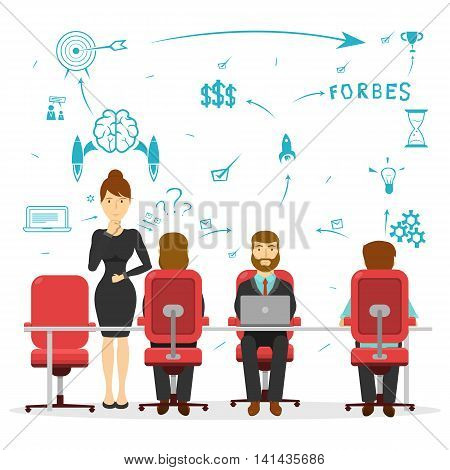 Business brainstorming design with teamwork of several people and sketch of possible solutions vector illustration