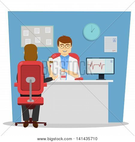On reception at doctor design of conversation with cardiologist about therapy on blue background vector illustration