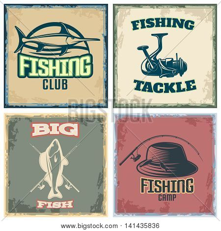 Fishing colored compositions with four square icon set with fishing club fishing tackle big fish and fishing camp descriptions vector illustration