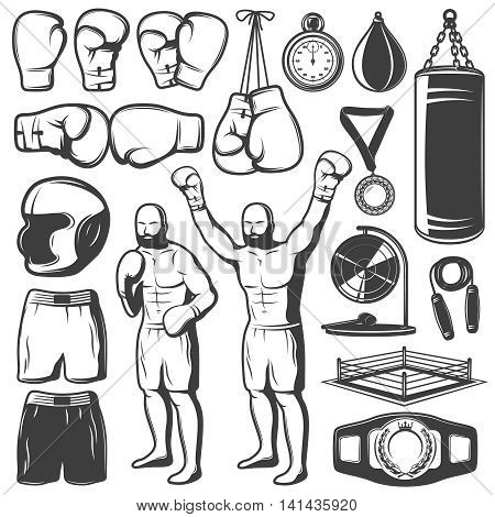 Boxing black white elements set with fighter sports clothing and equipment trophies isolated vector illustration