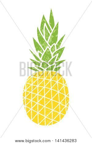 Pineapple - vintage icon. Cartoon drawing. Yellow ripe fruit with green leaves. Print for textiles. Vector illustration. Isolated object.