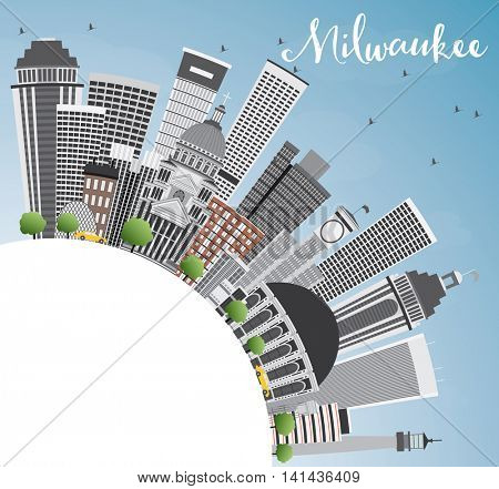 Milwaukee Skyline with Gray Buildings, Blue Sky and Copy Space. Business Travel and Tourism Concept with Modern Buildings. Image for Presentation Banner Placard and Web Site.