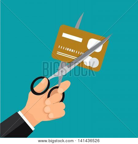 Hand business cutting credit card with scissor.Vector business cartoon.