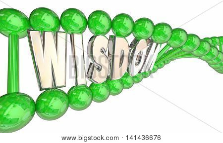 Wisdom Smarts Intelligence Hereditary DNA Word 3d Illustration poster